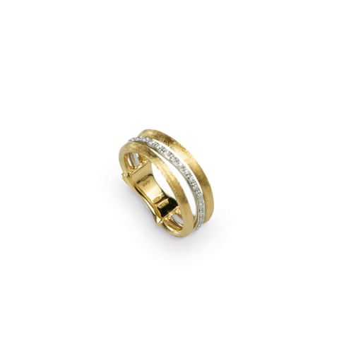 Bague Marco Bicego Jaipur Link 3 fils en or jaune guilloché et or blanc pavé de diamants