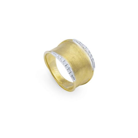 Bague large Marco Bicego Lunaria or jaune guilloché et diamants