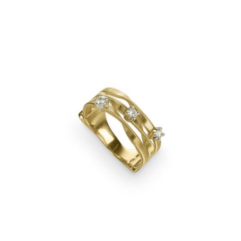 Bague Marco Bicego Marrakech 3 fils en or jaune et diamants