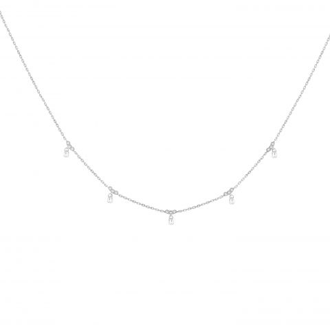 Collier Stone Paris Ama or blanc et diamants