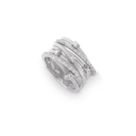 bague marco bicego goa or blanc diamants entrelacée