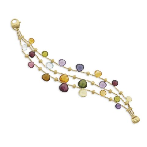 Bracelet Marco Bicego Paradise or jaune guilloché et pierres fines de couleur