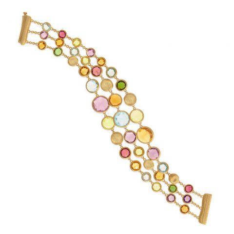 bracelet 3 rangs marco bicego jaipur or jaune pierres de couleur
