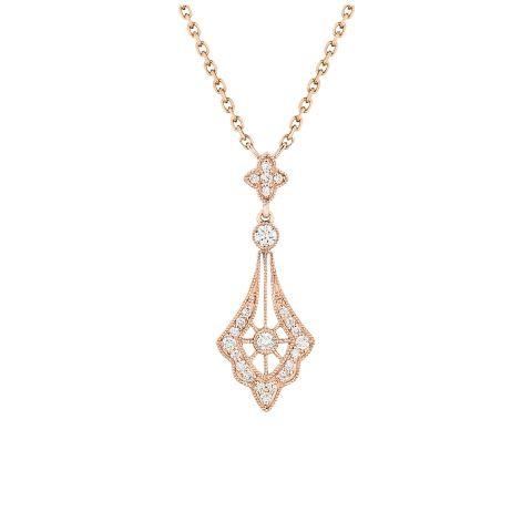 Pendentif Stone Paris Belle Epoque or rose et diamants