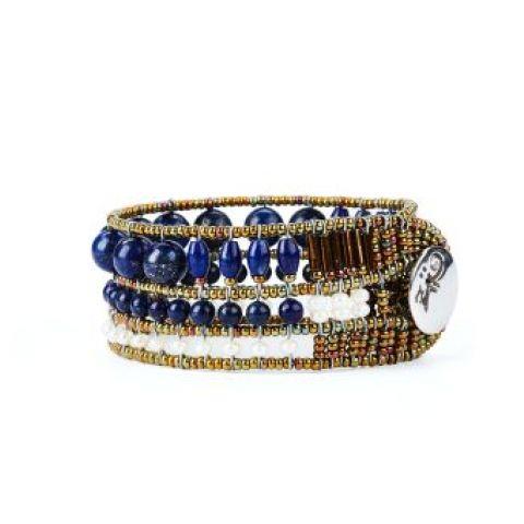 Bracelet ZIIO Coloratissimo Lapiz en lapiz-lazuli, perles d'eau douce et perles en verre de Murano