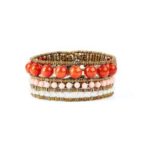 Bracelet ZIIO Coloratissimo Oranred en cornaline, pierre de lune, perles d'eau douce et perles en verre de Murano