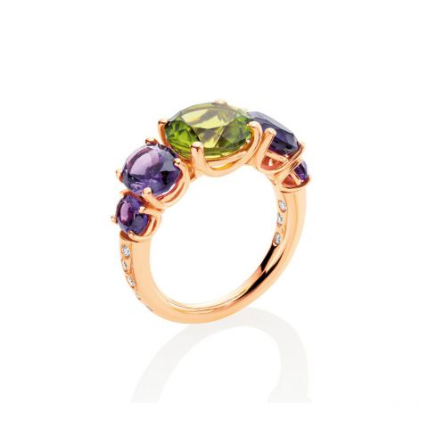 bague casato or jaune améthyste péridot diamants