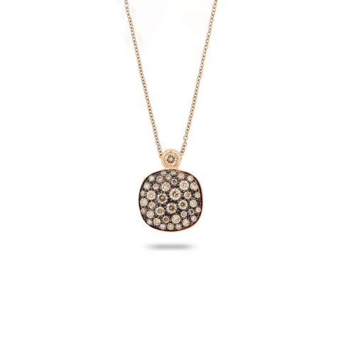Pendentif Brusi Petit Trésor pavé de diamants blancs et diamants bruns sur or rose
