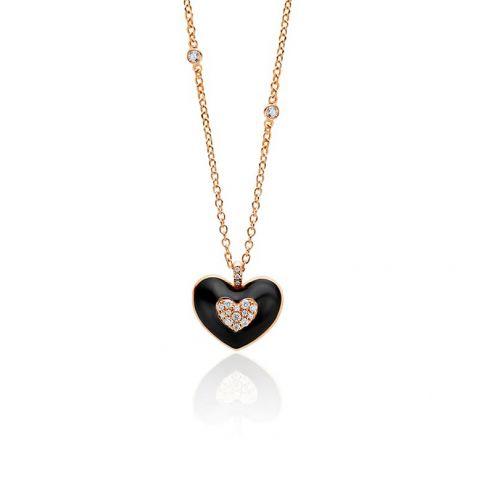 Pendentif Casato coeur en émail noir, or rose et pavé de diamants - détail