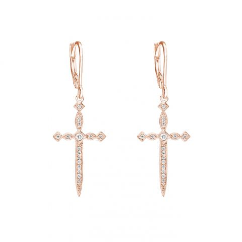 Boucles d'oreilles Stone Paris Diabolique en or rose et diamants