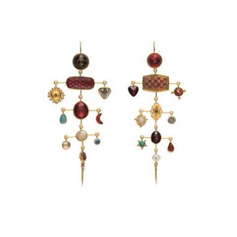 Boucles d'oreilles Grainne Morton 3 rangs de charms victoriens