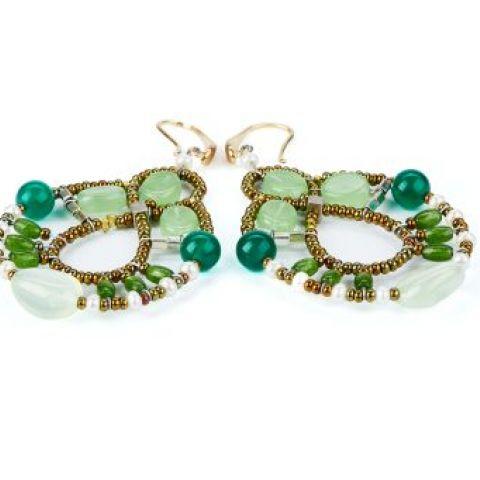 Boucles d'oreilles ZIIO Galaxie Criso Hydro en aventurine, calcédoine, jade, prehnite et perles en verre de Murano
