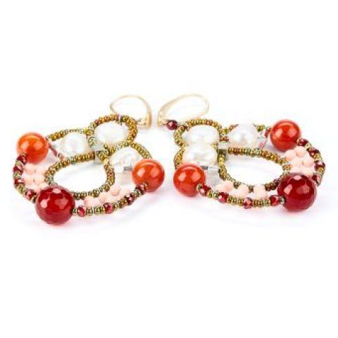 Boucles d'oreilles ZIIO Galaxie Oranred en agathe, perles d'eau douce, perles en verre de Murano et zircons