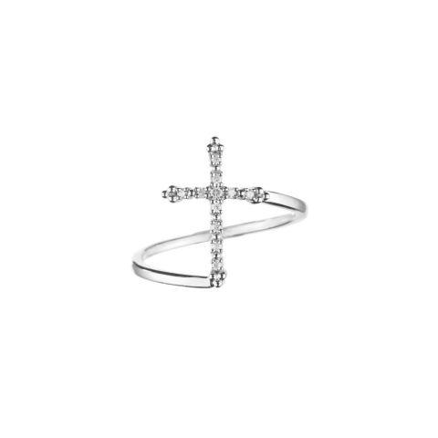 Bague croix Stone Paris Grace or blanc et diamants
