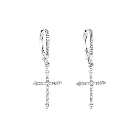 Boucles d'oreilles Stone Paris Grace en croix d'or blanc et diamants