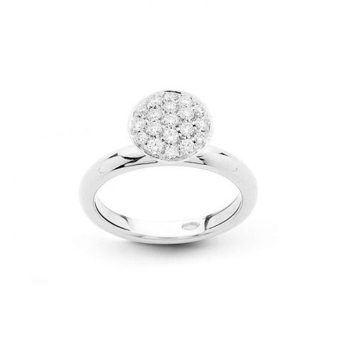 Bague Hulchi Belluni en or blanc et pavé rond de diamants