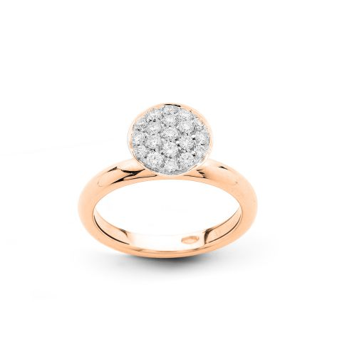 Bague Hulchi Belluni en or rose et pavé rond de diamants