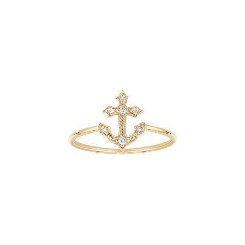 Bague ancre Stone Paris Jala or jaune et diamants