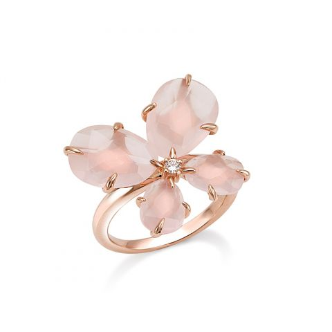 Bague MIMI Milano Mila en quartz rose en forme de papillon et or rose