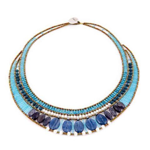 Collier ZIIO Goiaba Kyanite en kyanite, apatite, iolite, perles d'eau, zircons et perles en verre de Murano sur fil d'argent