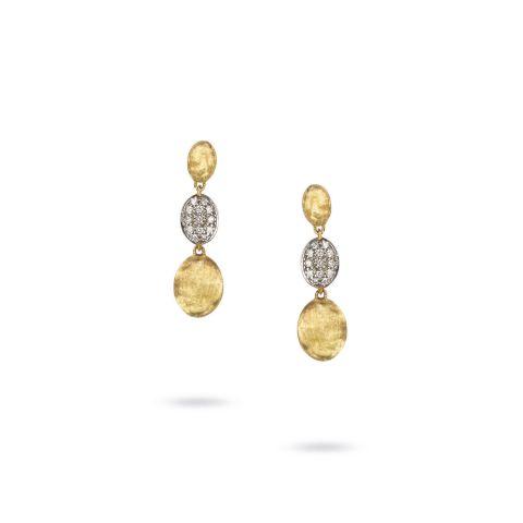 Boucles d'oreilles Marco Bicego Siviglia 3 motifs or jaune guilloché et pavé de diamants
