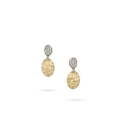 Boucles d'oreilles Marco Bicego Siviglia 2 motifs or jaune guilloché et diamants