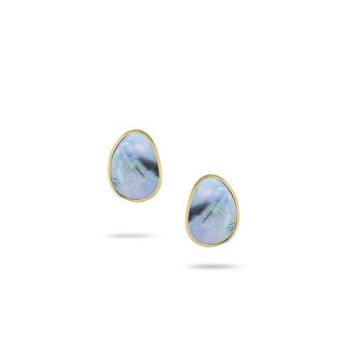 Boucles d'oreilles Marco Bicego Lunaria en or jaune guilloché et nacre noire