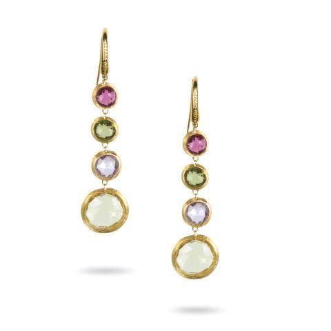 Boucles d'oreilles pendantes Marco Bicego, collection Jaipur 4 pierres de couleur disponible à la bijouterie à Liège