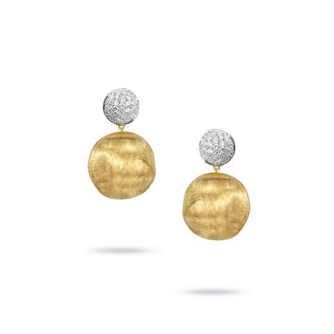 Boucles d'oreilles Marco Bicego Africa en or jaune, or blanc et diamants