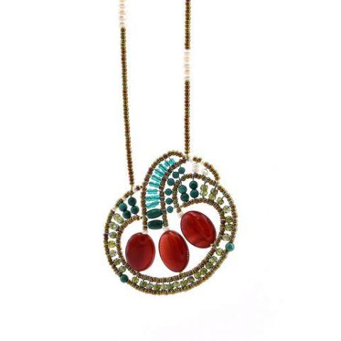 Collier long ZIIO Goiaba Nest Mix en agate, malachite, perles d'eau, zircons et perles en verre de Murano, sur fil d'argent
