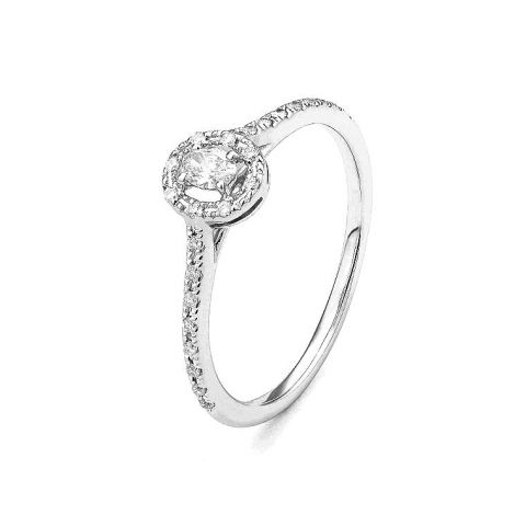 Bague Facet diamant central oval entourage diamants et or blanc