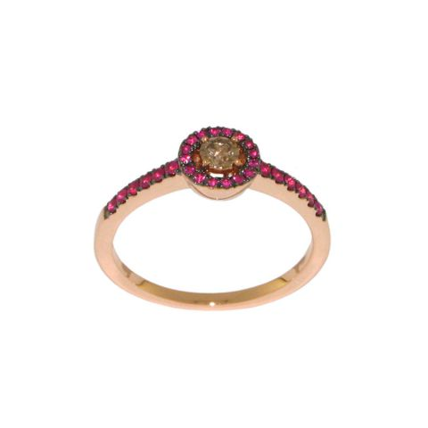 Bague entourage rubis diamant central de couleur or rose