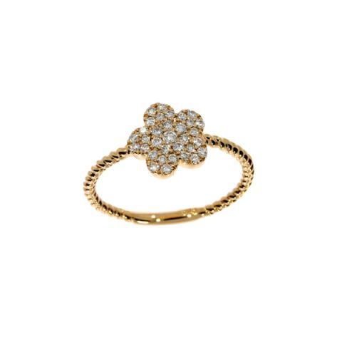 Bague en forme de fleur, pavé de diamants et corps torsadé en or jaune