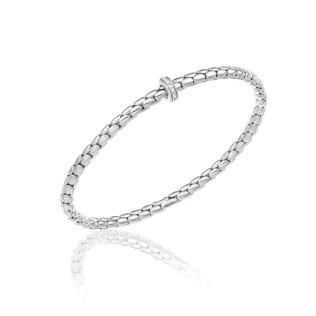 Bracelet Chimento Stretch Spring  en or blanc à maille élastique, orné d'un motif serti de diamants