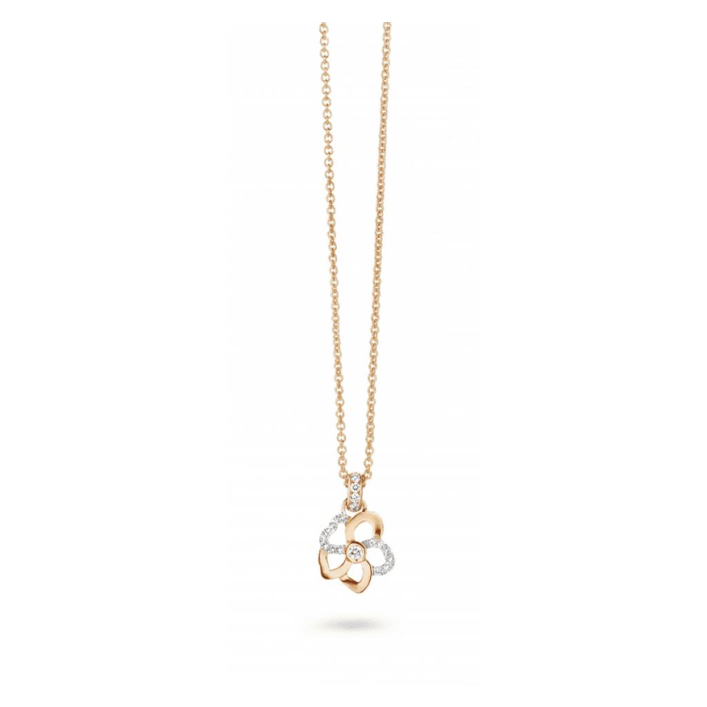 Pendentif Hulchi Belluni Fleur de Monoï en or rose et diamants