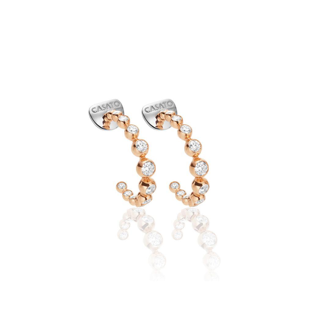 Boucles d'oreilles créoles Casato Boutique en or rose et diamants