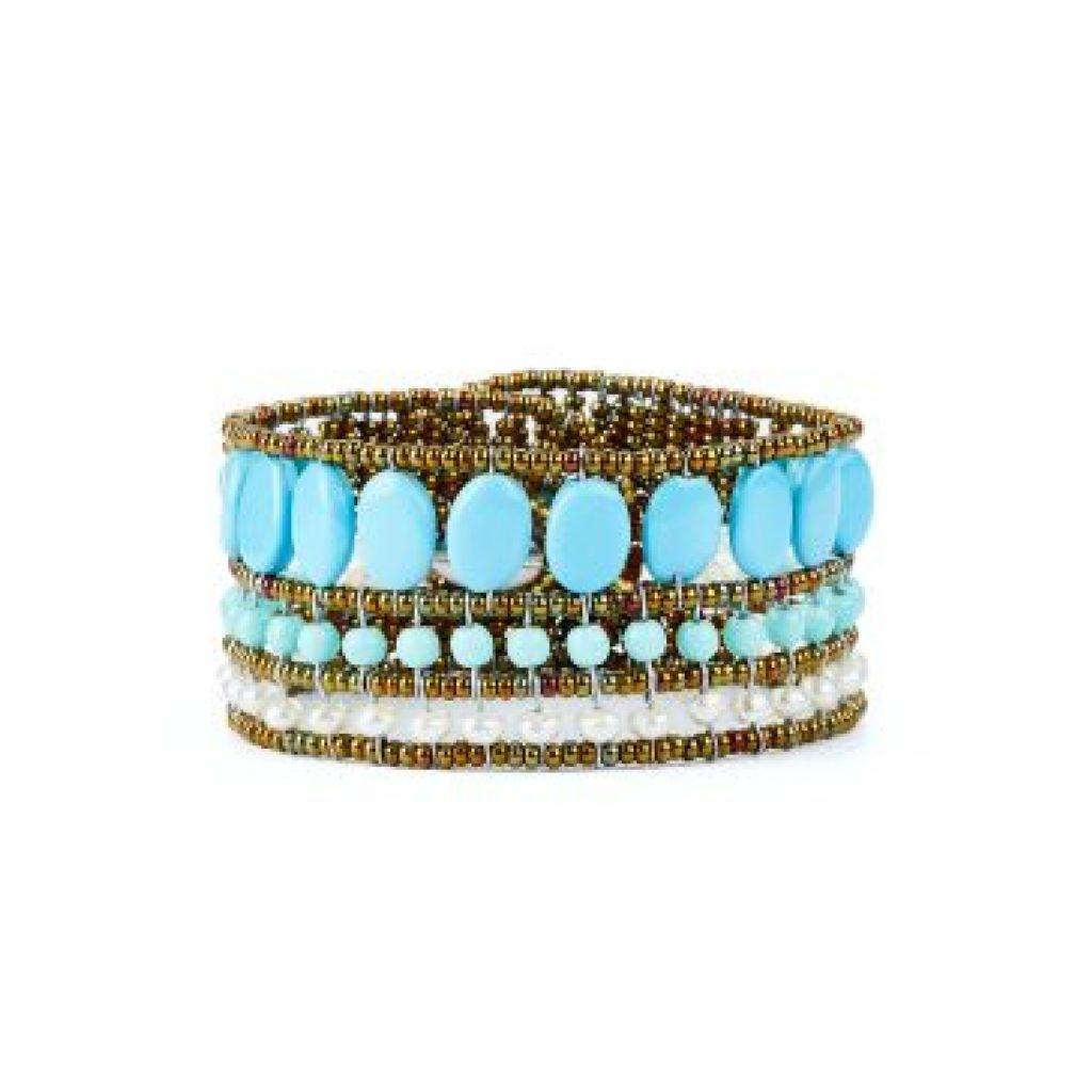 Bracelet ZIIO Coloratissimo Blu Tu en perles d'eau douce et perles en verre de Murano