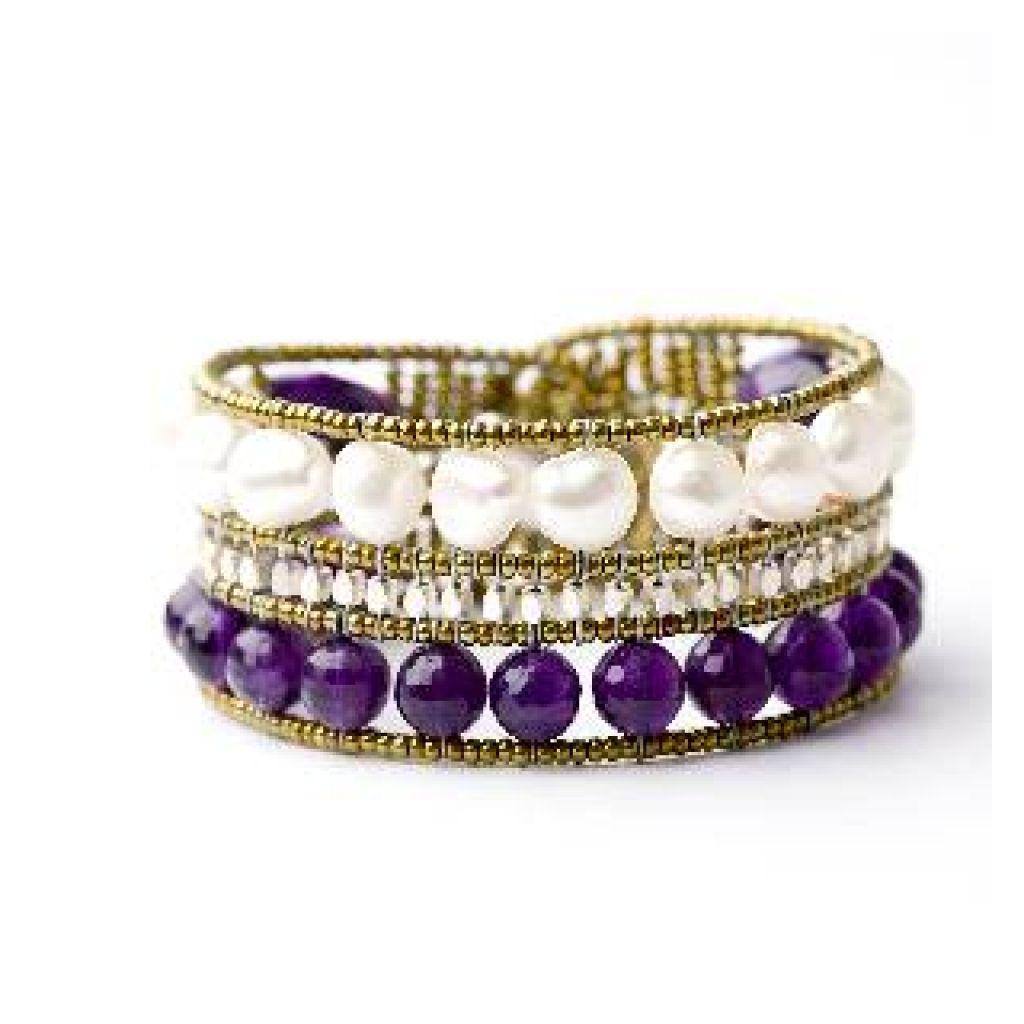 Bracelet ZIIO Line Viola en améthyste, grenat, perles d'eau douce et perles en verre de Murano