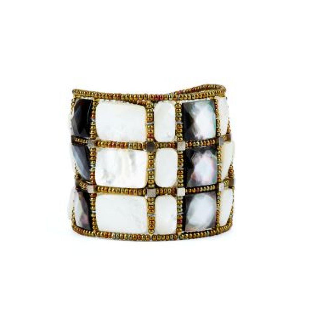 Bracelet manchette ZIIO Mirror en grenat, nacre et perles en verre de Murano