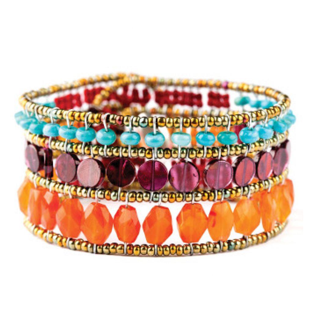 Bracelet ZIIO Snake Orange en grenat, turquoise, cornaline, rubis et perles en verre de Murano
