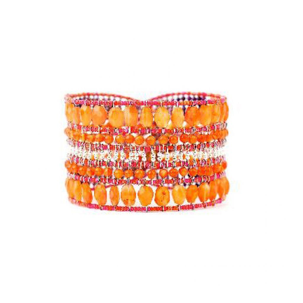 Bracelet ZIIO Translucide Cornaline en cornaline, sugilite et perles en verre de Murano sur fil d'argent