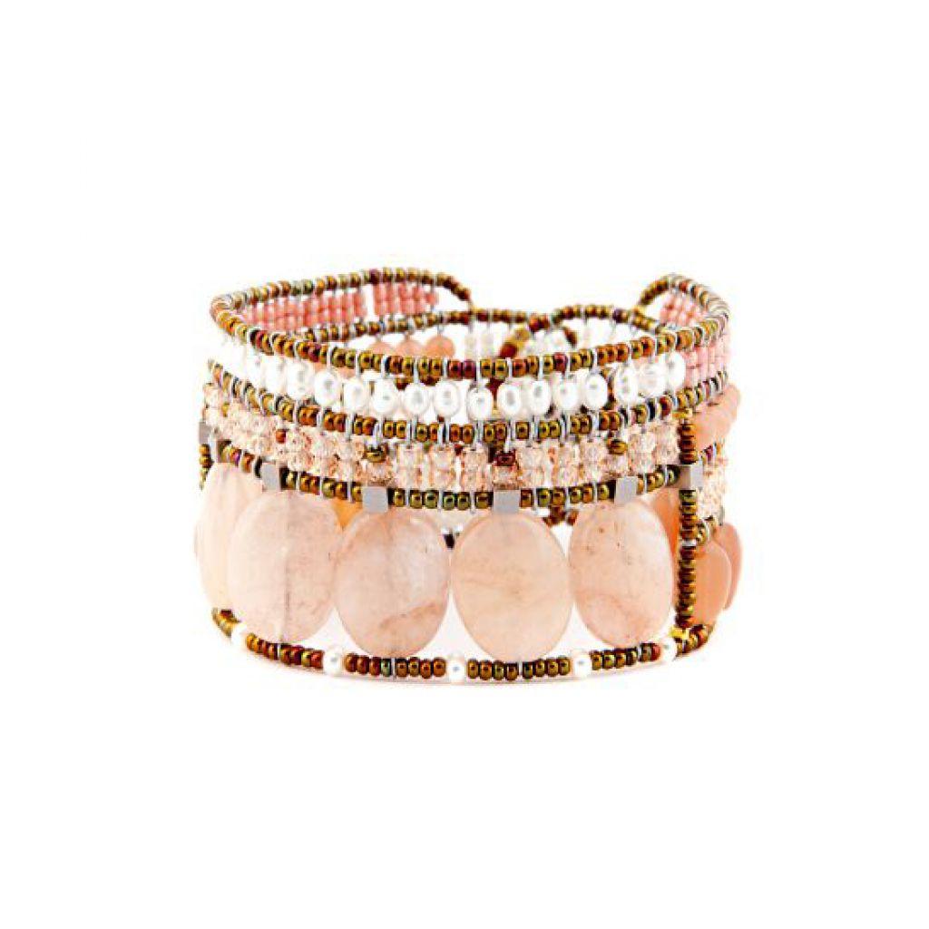 Bracelet ZIIO Goiaba Morganite en morganite, pierre de lune, perles d'eau, zircons et perles en verre de Murano sur fil d'argent