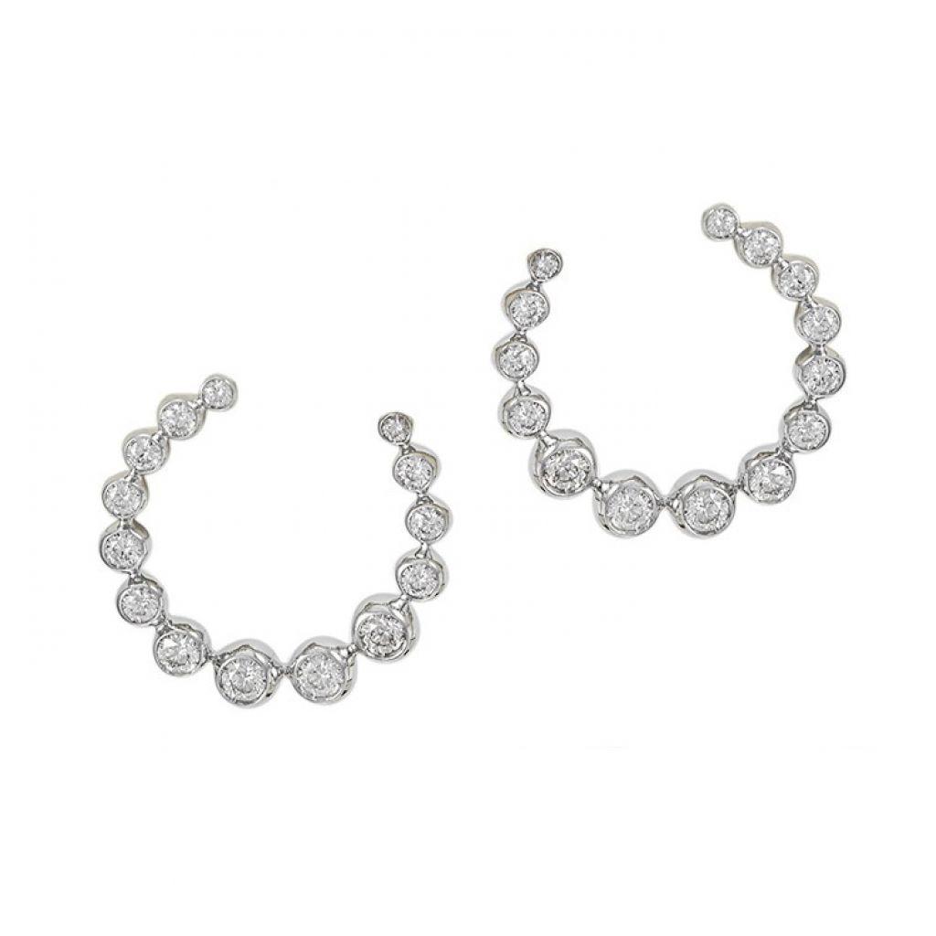 Boucles d'oreilles Casato Boutique en or blanc et diamants en arc de cercle