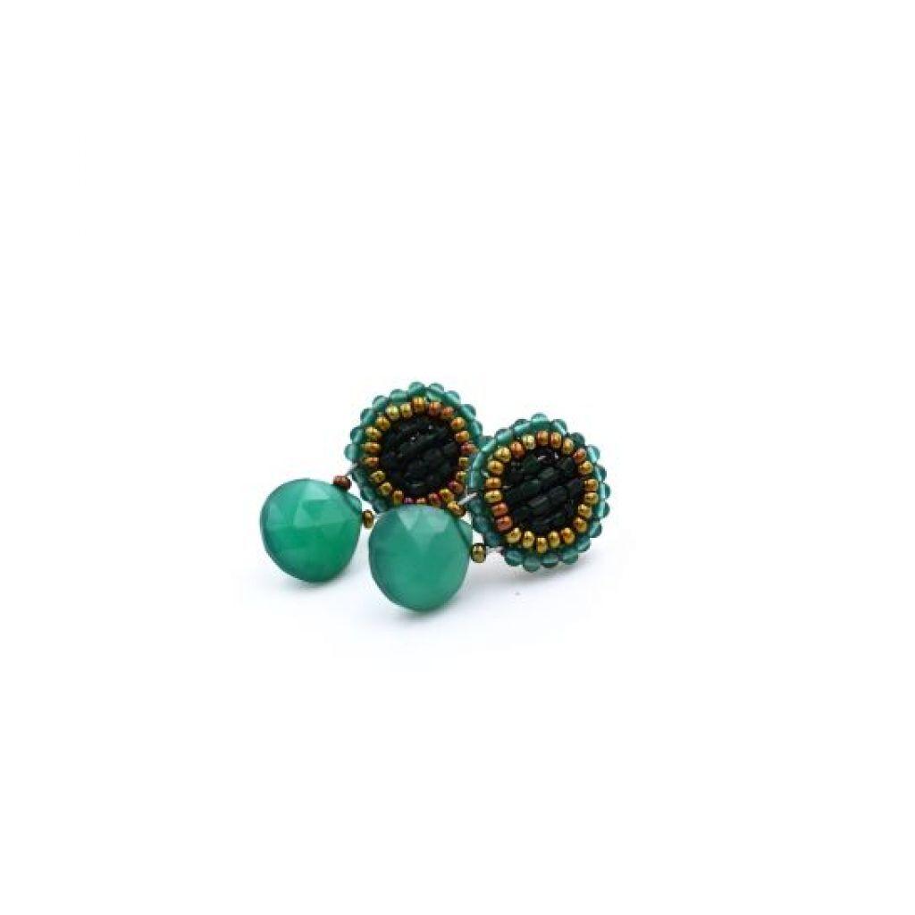 Boucles d'oreilles ZIIO Goiaba Bottone Green en aventurine, onyx et perles en verre de Murano