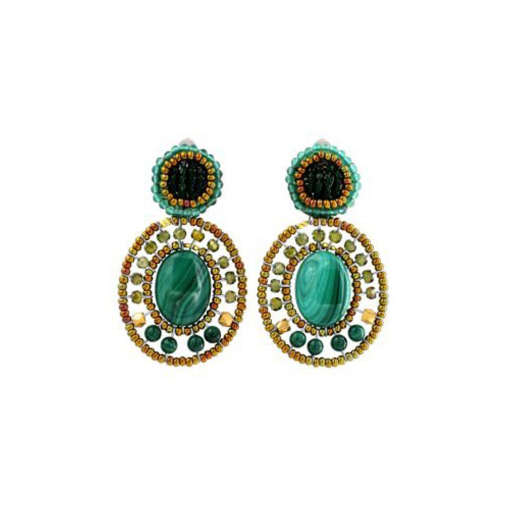 Boucles d'oreilles ZIIO Bottone Malachite en aventurine, malachite, zircons, laiton et perles en verre de Murano sur fil d'argent