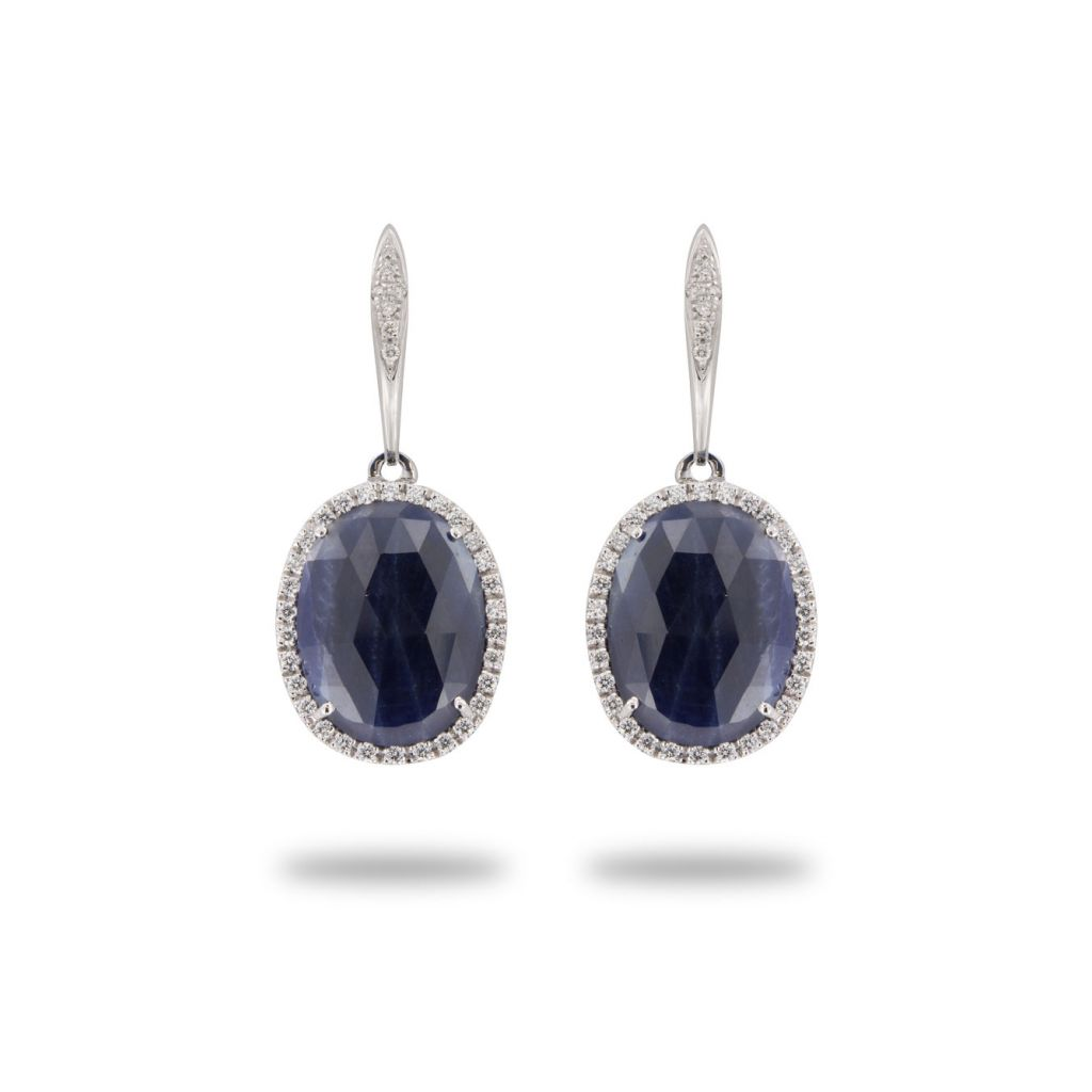 Boucles d'oreilles Brusi pendants de saphir entourage diamants en or blanc