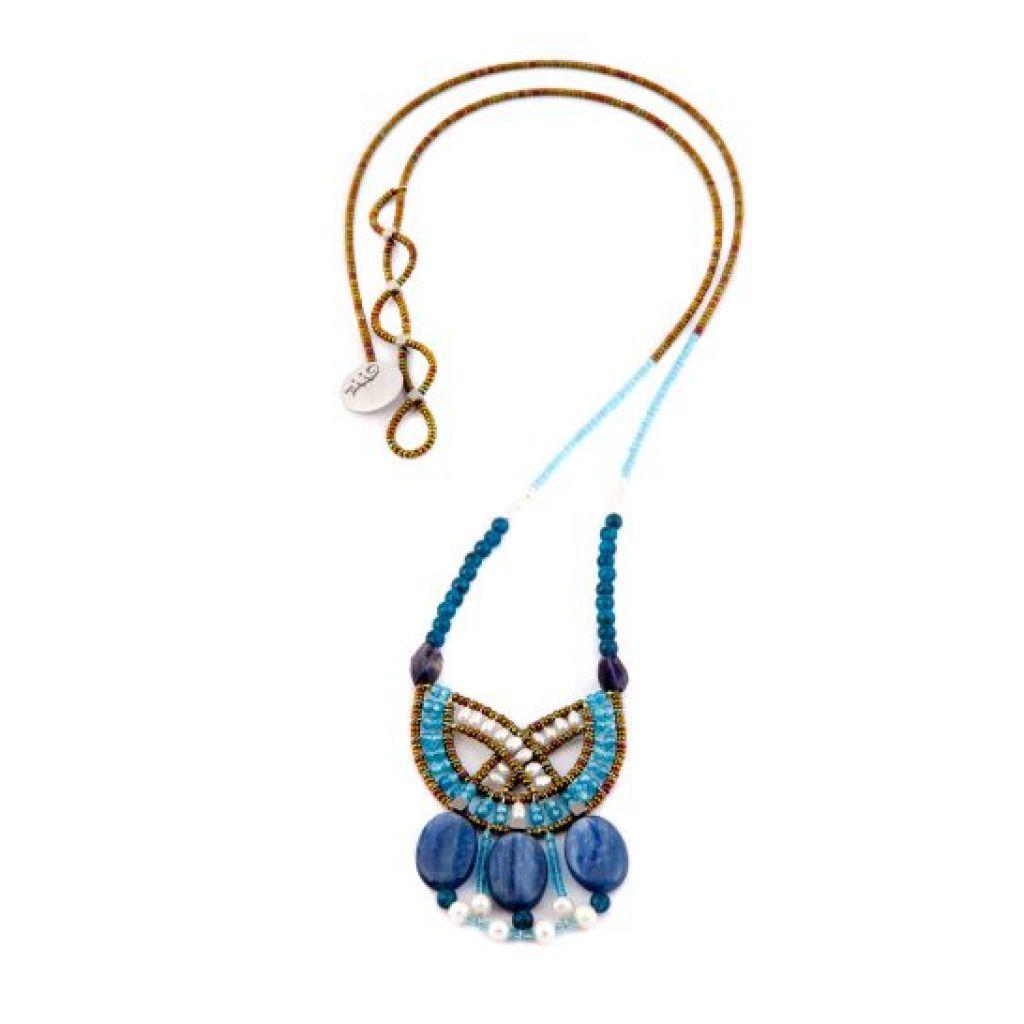 Collier long ZIIO Goiaba Kyanite en kyanite, apatite, iolite, perles d'eau, zircons et perles en verre de Murano sur fil d'argent